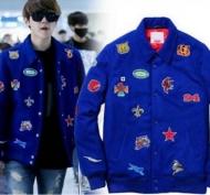 韓国大人気なシュプリームxBaek Hyun (ベクヒョン) ファッション 着用トップス 秋冬 ワッペン付きのメンズSUPREME アウター ブラック ブルー 2色.