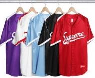17AW SUPREME Snake Script Logo Baseball Jersey シュプリーム ベースボール半袖シャツ ブラック ホワイト 多色