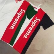 シュプリーム tシャツ コピー SUPREME 人気 ストライプ 半袖Tシャツ ブラック グリーン 2016春夏 コットン クルーネック