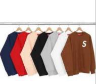 シュプリーム パーカー 激安 SUPREMELogo Crewneck刺绣 プルオー バーパーカー グレー、赤、ピンク、ブラック4枚可選 .