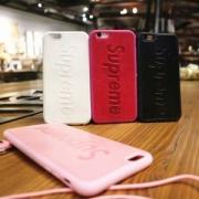 完売必須★supreme 携帯ケース 偽物 耐衝撃 可愛いiphone6ケース 今季セール直前 ストラップ付 安心 レディース ピンク 赤色