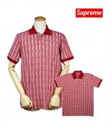 SUPREME シュプリーム ポロシャツ メンズ 半袖 レッド ストライプ柄 シンプル 夏春 カジュアル 西海岸トップス