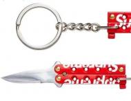 シュプリーム17AW ボックス ロゴ クワイエットキャリーナイフSUPREME オンラインキーホルダー持ち運び収納型ナイフ
