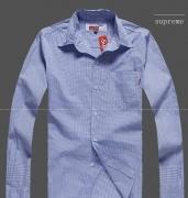 13SS 長袖 シャツ SUPREME シュプリームxコムデギャルソン DSM COMME des GARCONS Gusset Shirt チェック柄 ブルー