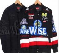 SUPREME xWISE (シュプリームxワイズ) 17AW 秋冬大人気 レーシングジャケット 着こなし 刺繍 黒 コットン ボタン メンズコート.