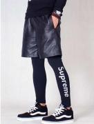 大人気 15春夏 シュプリーム 人気商品 レギンス SUPREME スキ二ーパンツ ブラック ボトムス スポーツ プリントレギンス