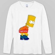 シュプリーム 安い SIMPSON x SUPREME Bart Simphson Box Logo ボックスロゴ 長袖 ホワイト ブラックTシャツ
