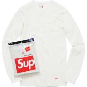 2015FW SUPREME Hanes® Thermal Crew (1 Pack) シュプリーム 長袖Tシャツ クルーネックコットン ホワイト 無地