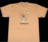 2016春夏 大人気 新作 SUPREME シュプリーム Gonz Butterfly Tee 半袖 Tシャツ コットン クルーネック ライトオレンジ