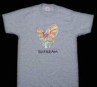 高品質 新品 シュプリーム SUPREME tシャツ Gonz Butterfly Tee 人気 新作 グレー クルーネック コットン 2015春夏