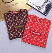 SUPREME X Louis Vuitton Box Logo シュプリーム 半袖  tシャツ ボックスロゴ 赤、コーヒー2色選択 男女兼用.