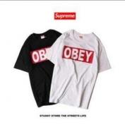 SUPREME コピー 品 シュプリーム OBEY TEE ボックスロゴ 半袖Tシャツ 男女兼用 ホワイト、ブラック2色選択.