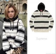 シュプリーム SUPREME Striped Hooded Sweatshirt クルーネック パーカー ブラック*ホワイト ボーダー.