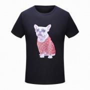 SUPREME 18人気定番 ヴィトン シュプリーム 偽物 メンズ半袖Tシャツ モノグラム柄 可愛い犬プリント 2色可選