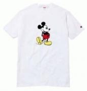可愛いシュプリームチャンピョンコラボ半袖TシャツプリントミッキーSUPREMEクールネック刺繍ロゴ2色可選